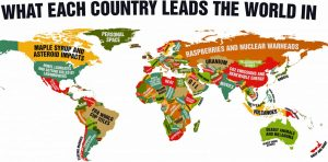 What each country of the world leads in